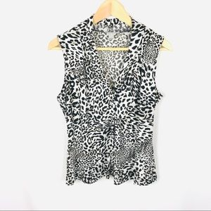 Calvin Klein v-neck leopard sleeveless blouse